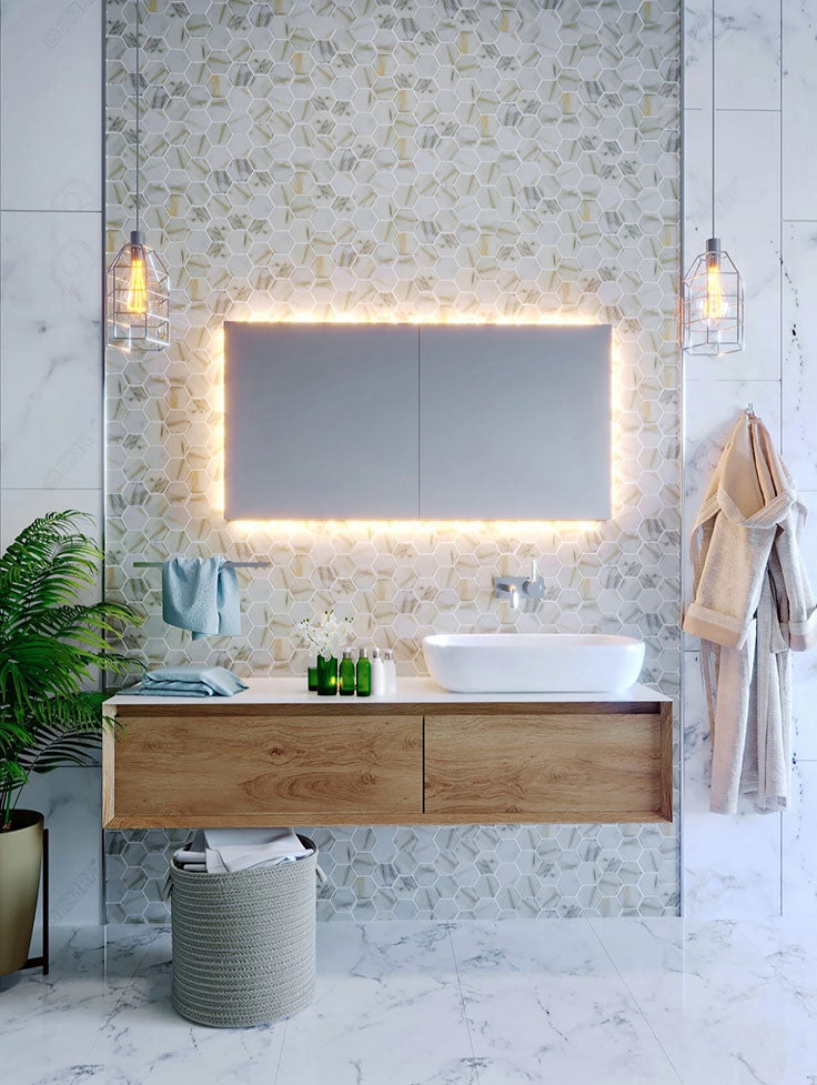 Marble Pattern Recycled Glass Hexagon Tiles add Texture to a Minimalist Contemporary Bathroom with a Floating Vanity