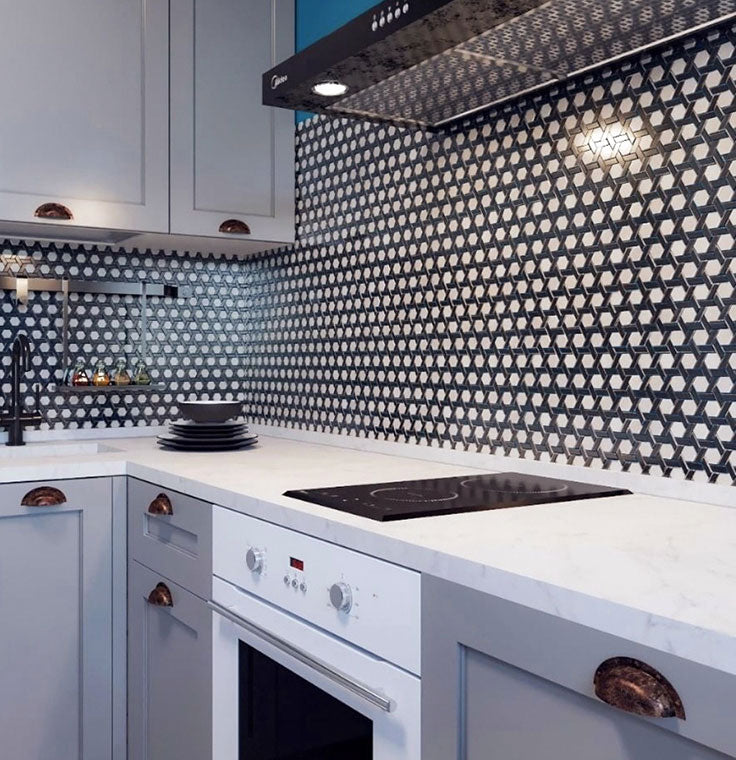 Patterned Glass Tile Backsplash in Black and White for a Contemporary Kitchen with Homey Charm