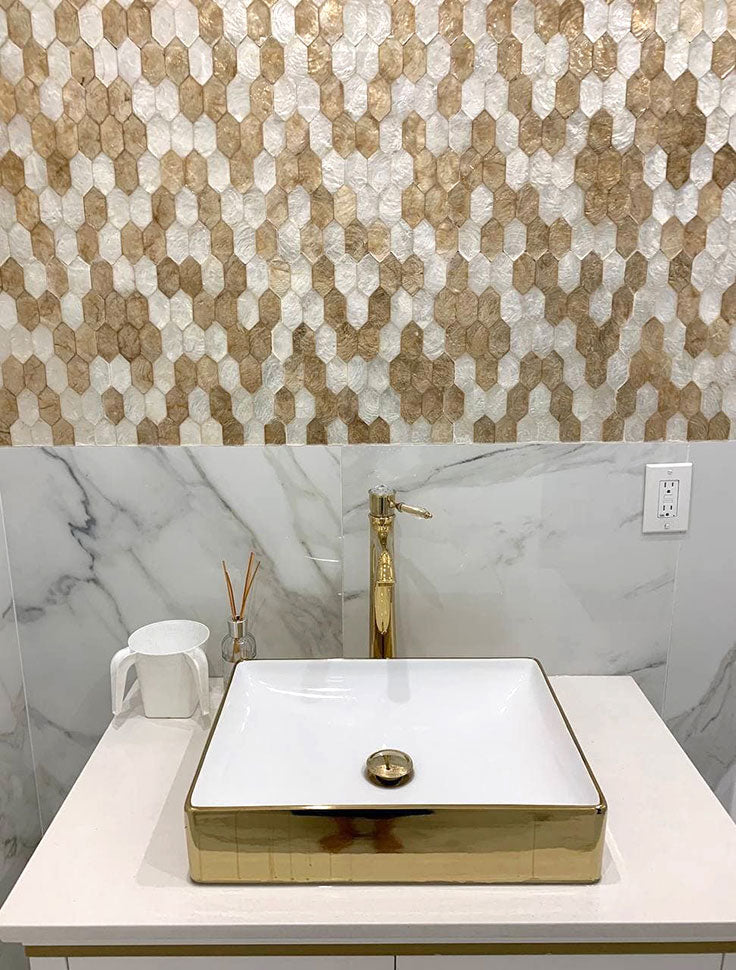 Gold and White Picket Tile Backsplash for a Modern Vanity with Shell Tiles