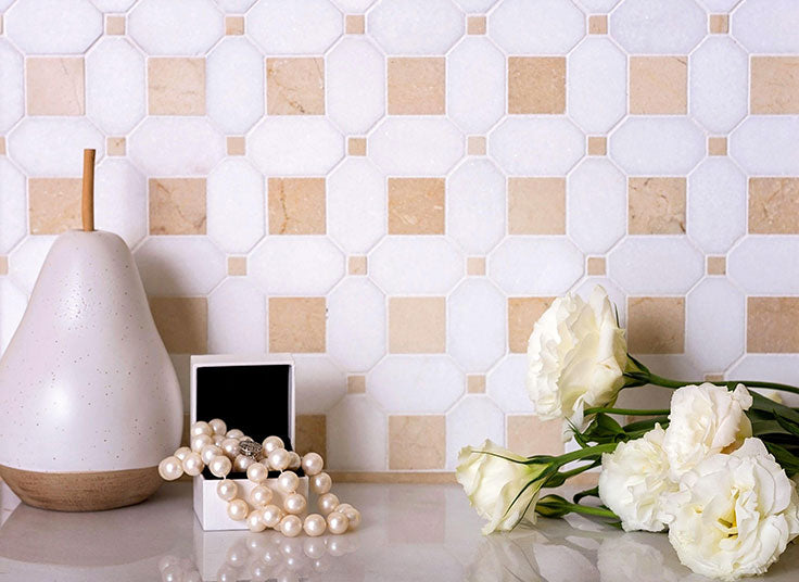 White and Tan Patterned Marble Tiles add Detail to a Neutral Bathroom