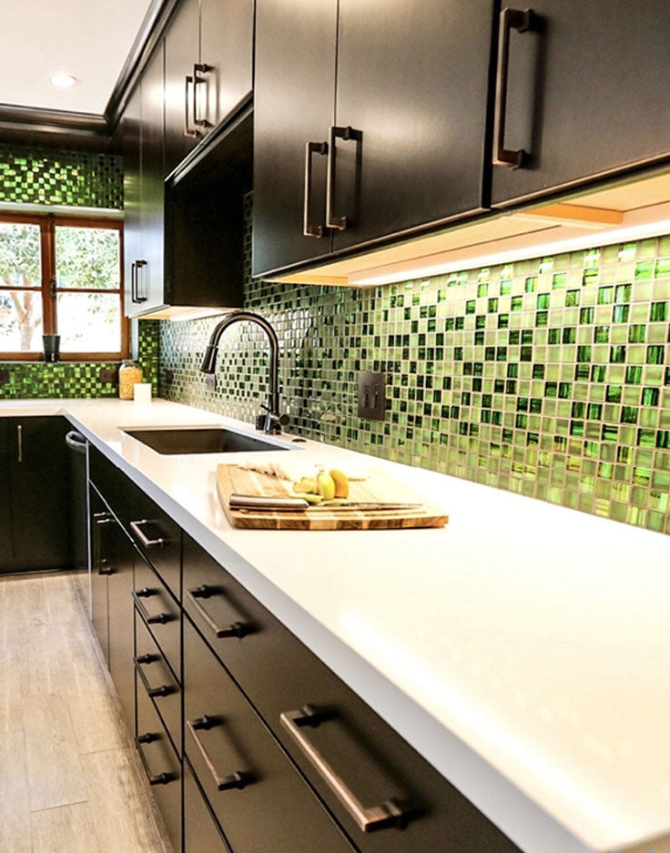 Electric Green Glass Mosaic Tile Backsplash in a Contemporary Black and White Kitchen