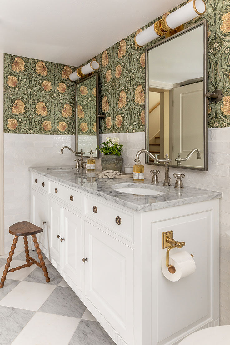 White and Gray Basement Bathroom Remodel with Marble Floor Tiles and Floral Pattern Wallpaper