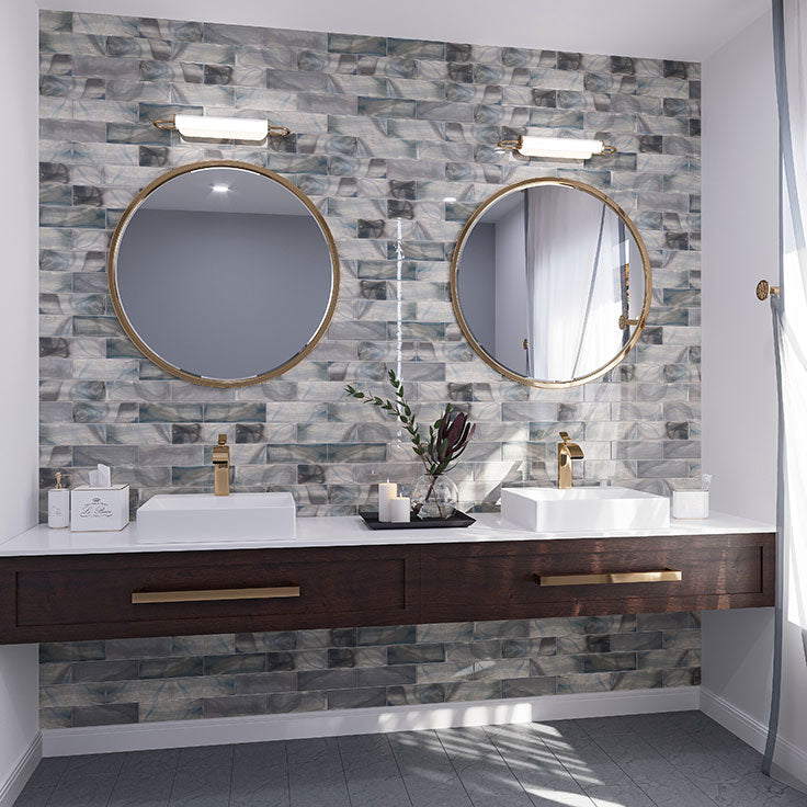 Patterned Tiles for a Fresh Subway Tile Layout behind your Bathroom Vanity