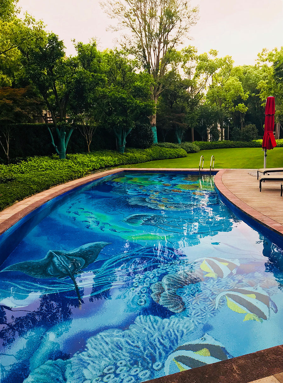 Mosaic Pool Tile Mural with Tropical Ocean Shells and Fish for a Backyard Upgrade