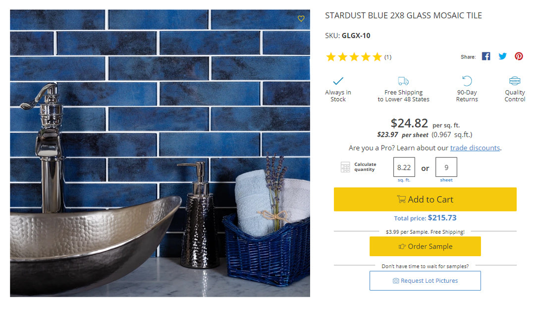 Handy Tile Calculator to Determine How Many Sheets You Need to Order