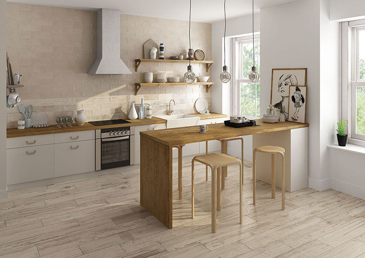 Wood Look Floor Tiles add Warmth to a Contemporary Neutral Kitchen