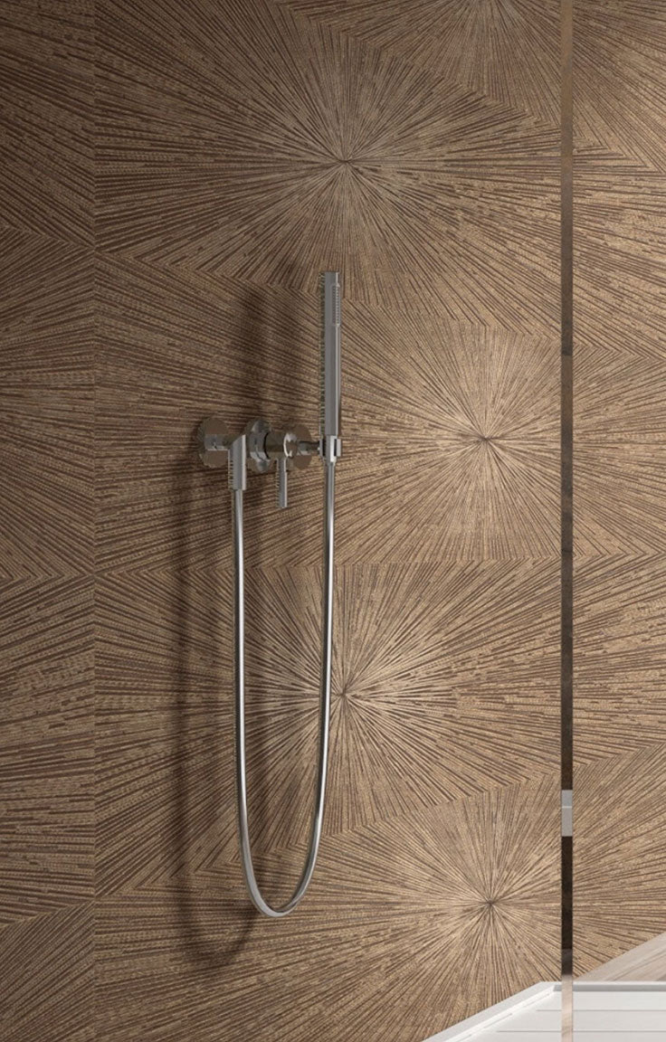 Contemporary bathroom design with a metallic sheen from copper finish  porcelain shower tiles