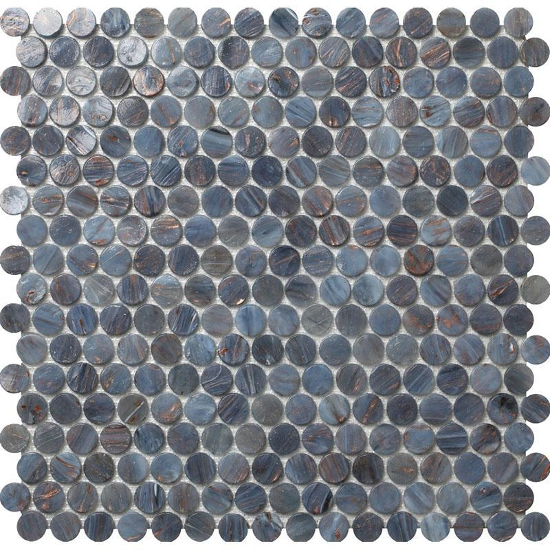 Denim Blue Glass Penny Round Tile for Pools, Walls, Floors