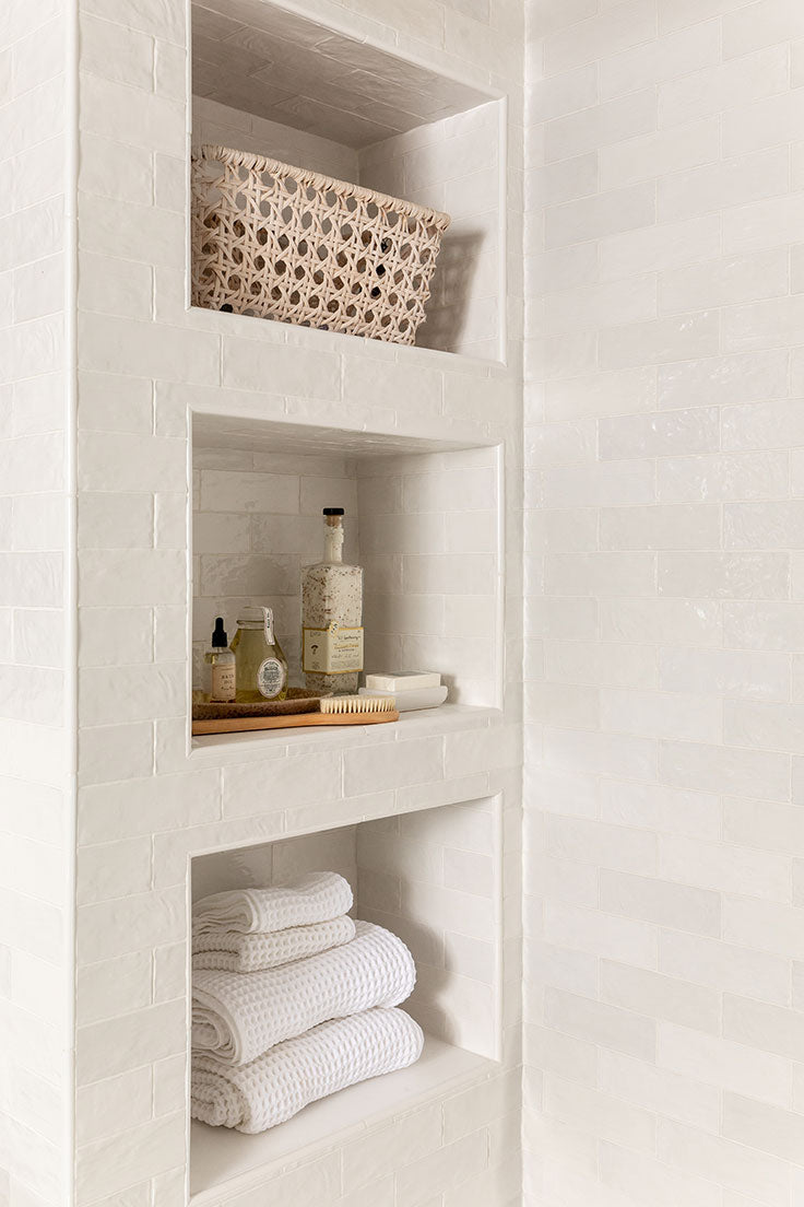 Zellige Ceramic Tile Shower with White Marble Shelf Inserts from Tile Club