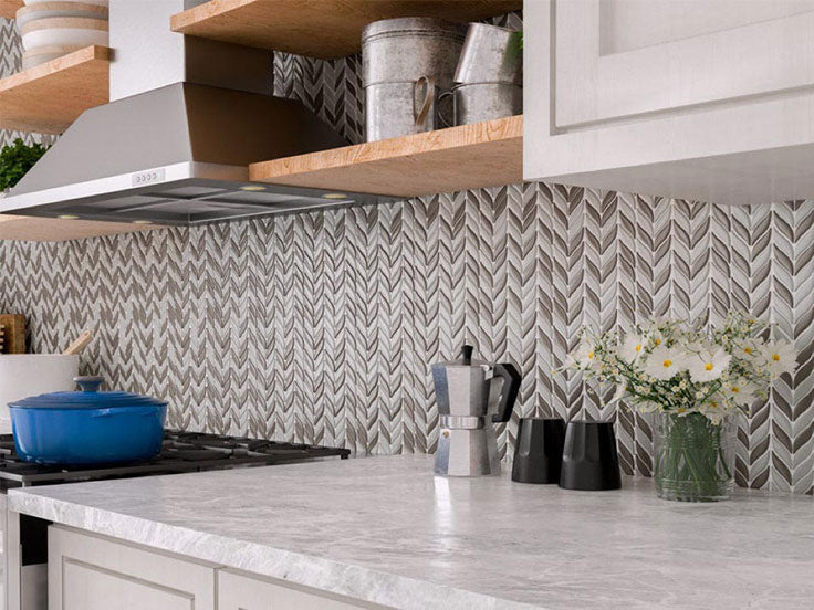Leaf Pattern Recycled Glass Mosaic Tile Backsplash for a French Country Kitchen
