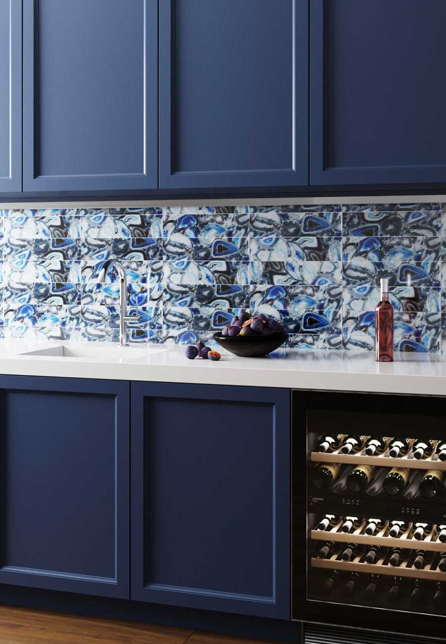 Wet Bar Backsplash with Trending Geode and Agate Slice Tile Backsplash