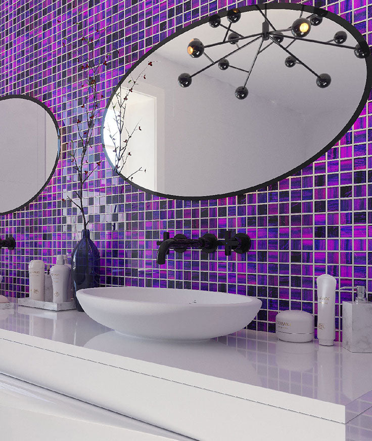 Modern White and Bathroom with Plum Purple Tiles