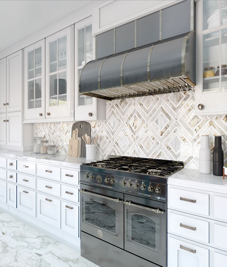 Upscale Country Kitchen with Calacatta Gold Marble Mosaic Backsplash Tile