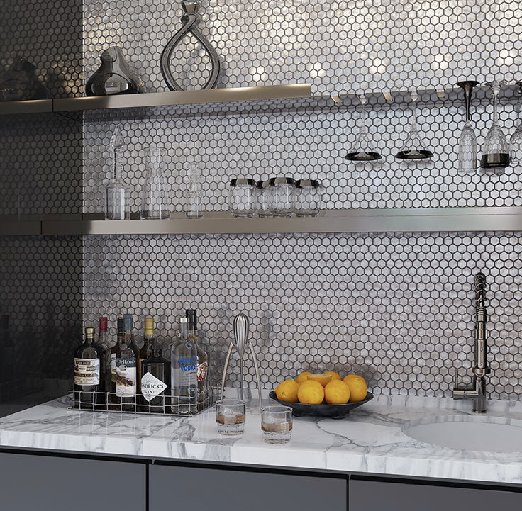 2021 is all about clean and organized, but that doesn't mean you can't add some fun shapes to the mix! This Matte Silver Hexagon Glass Mosaic Tile backsplash did just that, and we have to say, it did it very well.