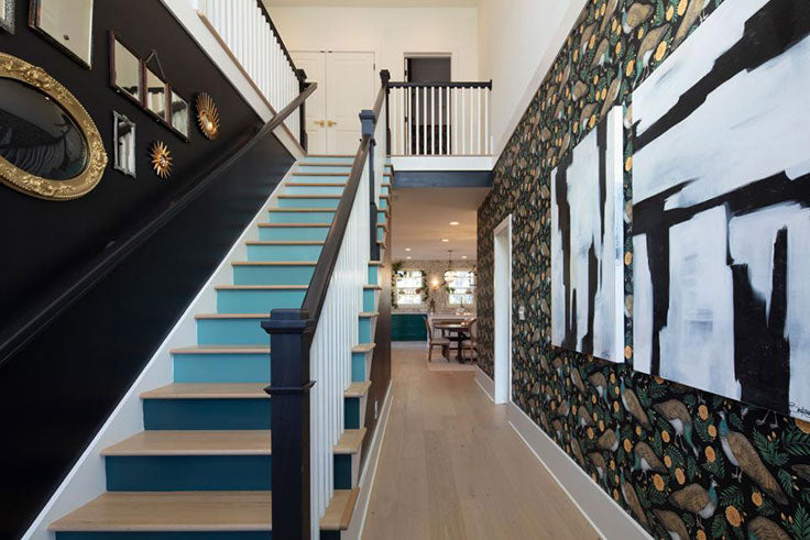 Modern Home Design with a Colorful Foyer and Ombre Stair Treads