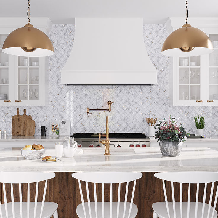 White and Gold French Country Kitchen Design Ideas