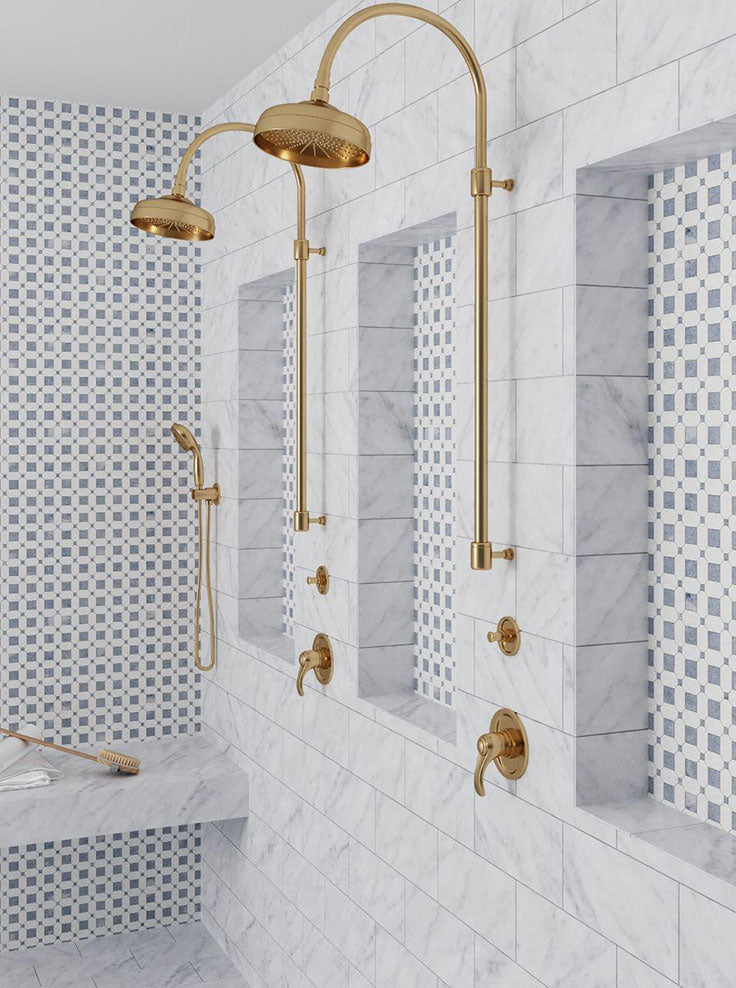 Blue and White Marble Walk In Shower with Gold Fixtures