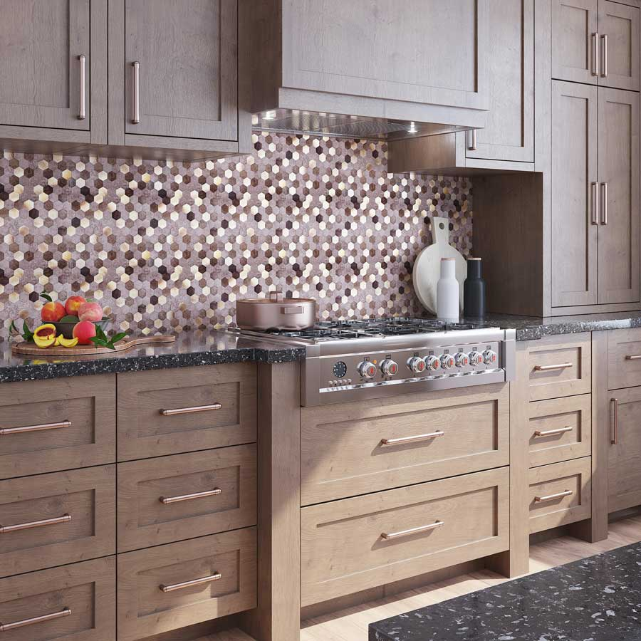 Metallic Hexagon Peel and Stick Backsplash