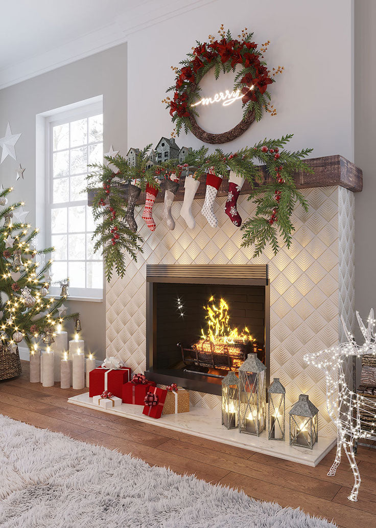 Modern Christmas Decorating Ideas with a Neon Wreath and Gold Marble Tile Fireplace Surround