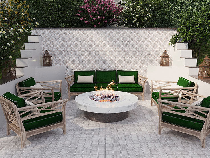 Outdoor Living Area with a Fire Pit and Gorgeous Exterior Tiles in Moroccan Patterns