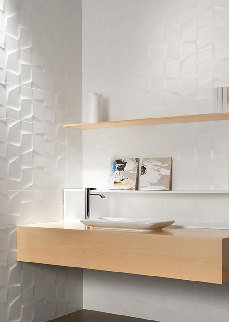 Modern Bathroom Style with 3D Tile Walls