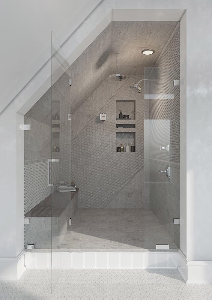 The organic atmosphere of our Oval Wooden Beige Marble Mosaic Tile gives this steam shower a calming, neutral design inspired by classic Scandinavian interiors!