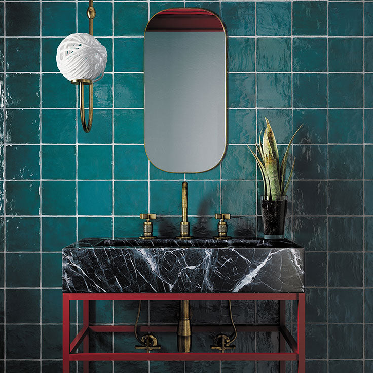 Textured Tiles with a Handcrafted Texture in Rich Jade Green