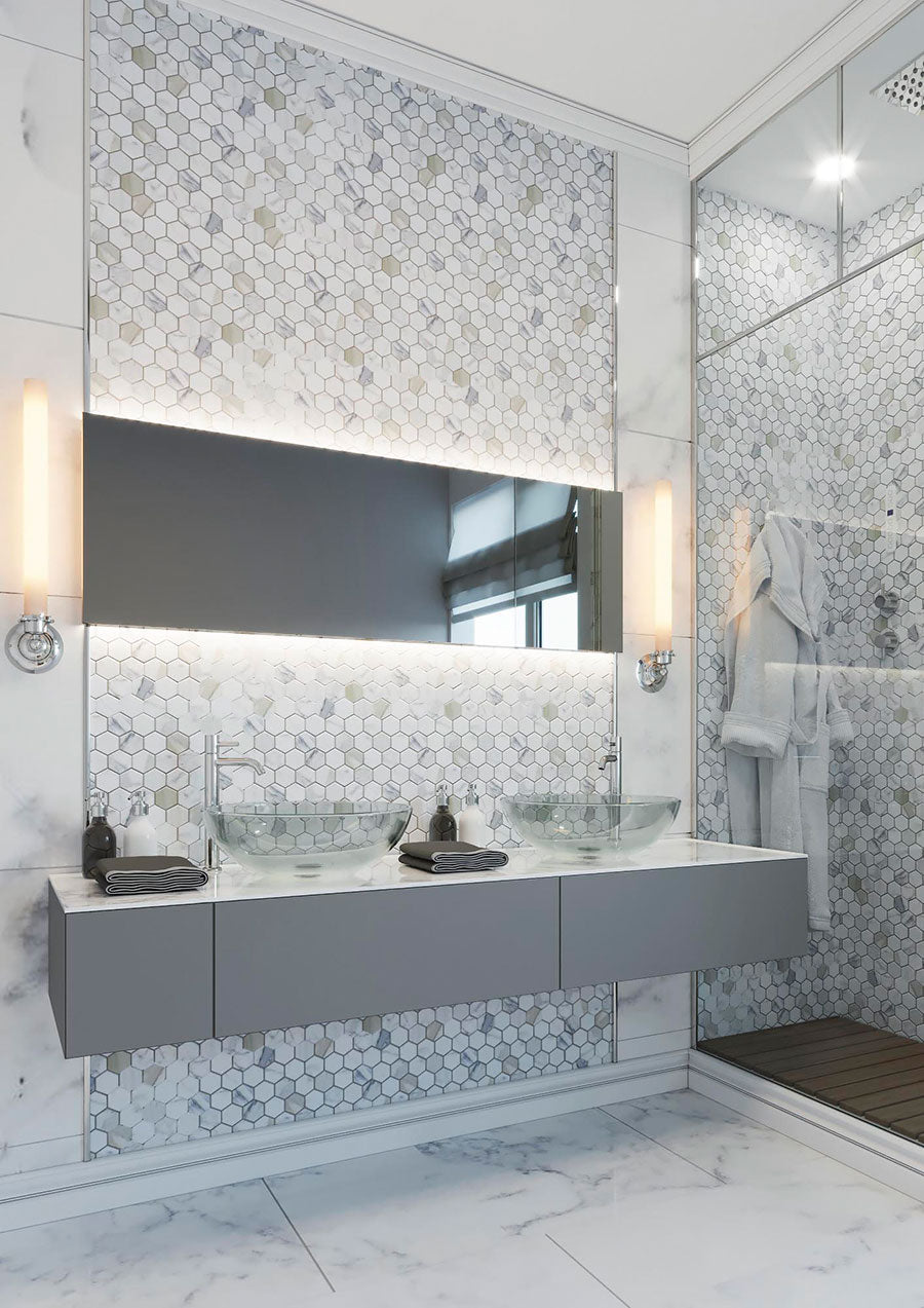 Geometric Bathroom Tiles And Styling Inspiration