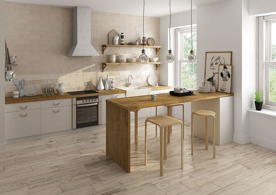 Minimalist Neutral Kitchen with Tribeca Miel Wood Look Porcelain Tile Flooring and Faux Brick Walls for a Home Share Rental