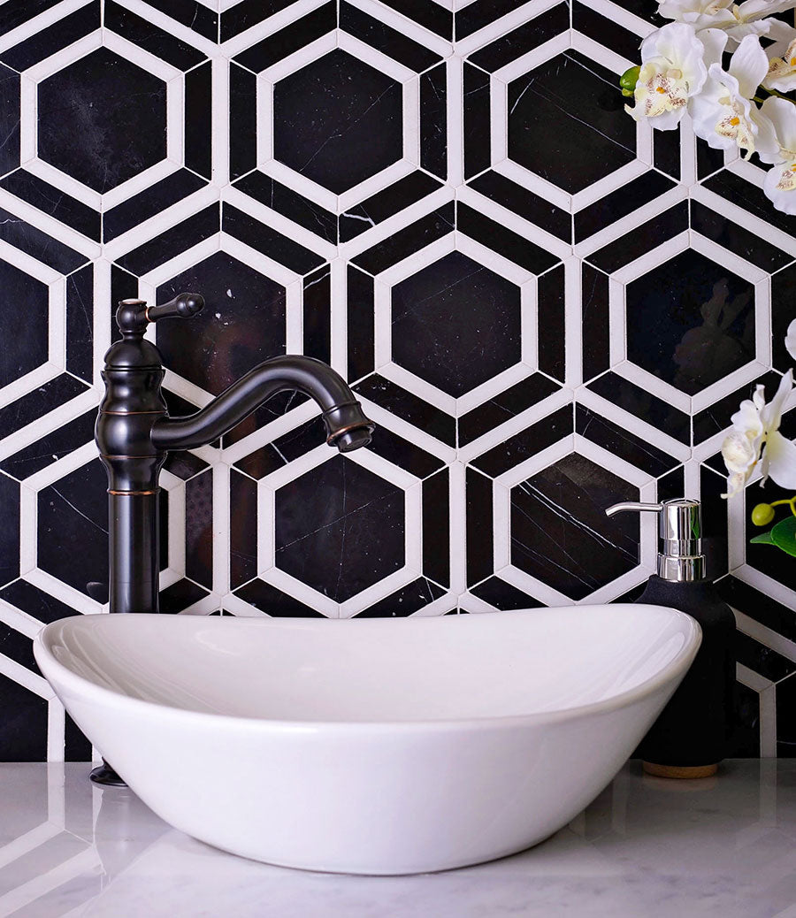 Geometric home decor in bold black and white with a Nero Marquina and Thassos White 6 Inch Hexagon Marble Mosaic Tile backsplash