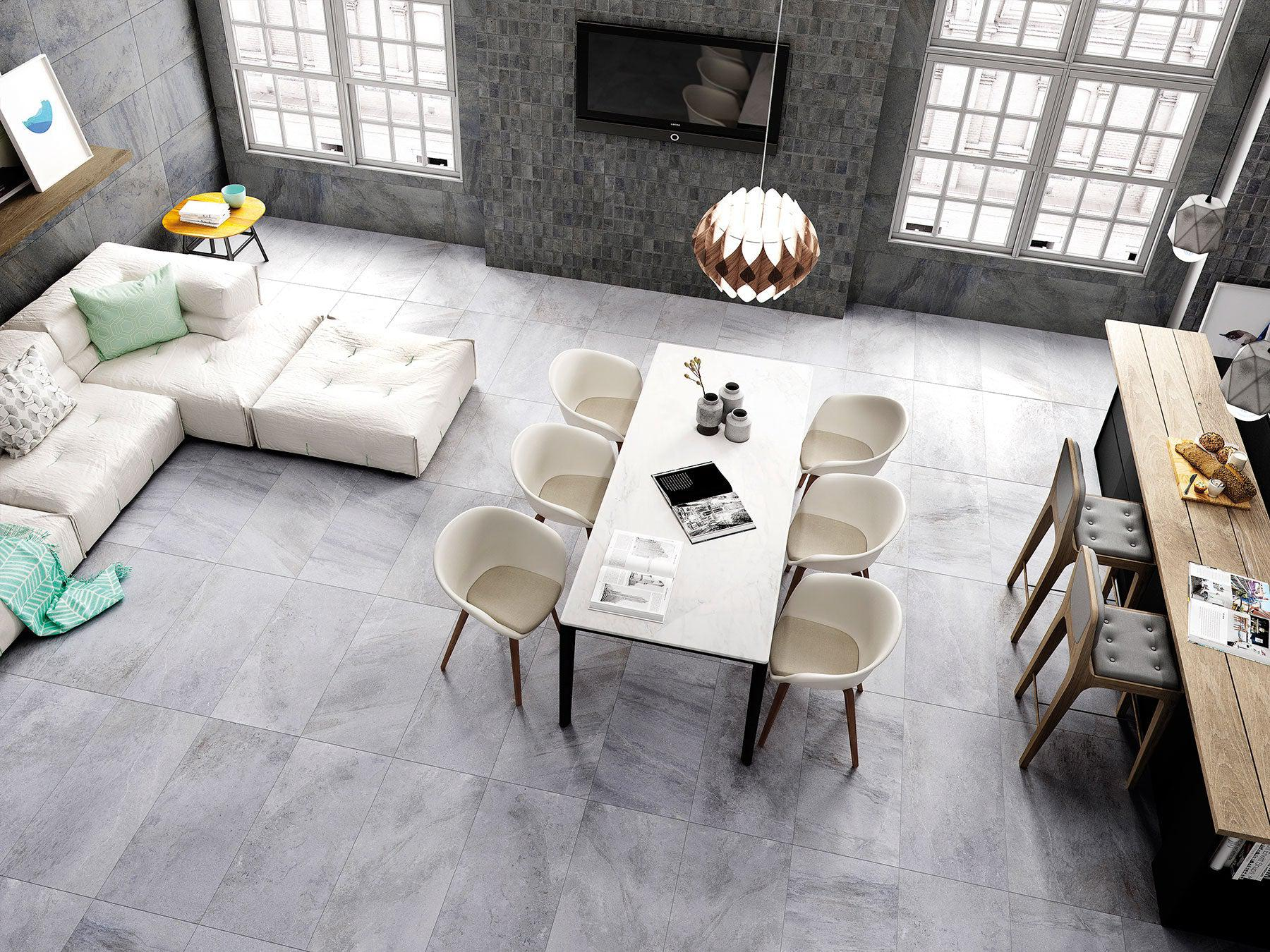 A fresh new porcelain tile floor at $5.88 per square foot? Talk about a renovation win!