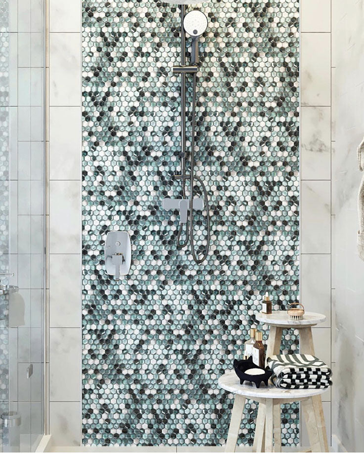 Emerald Hexagon Shower Wall Tile for a Soothing Waterfall Effect