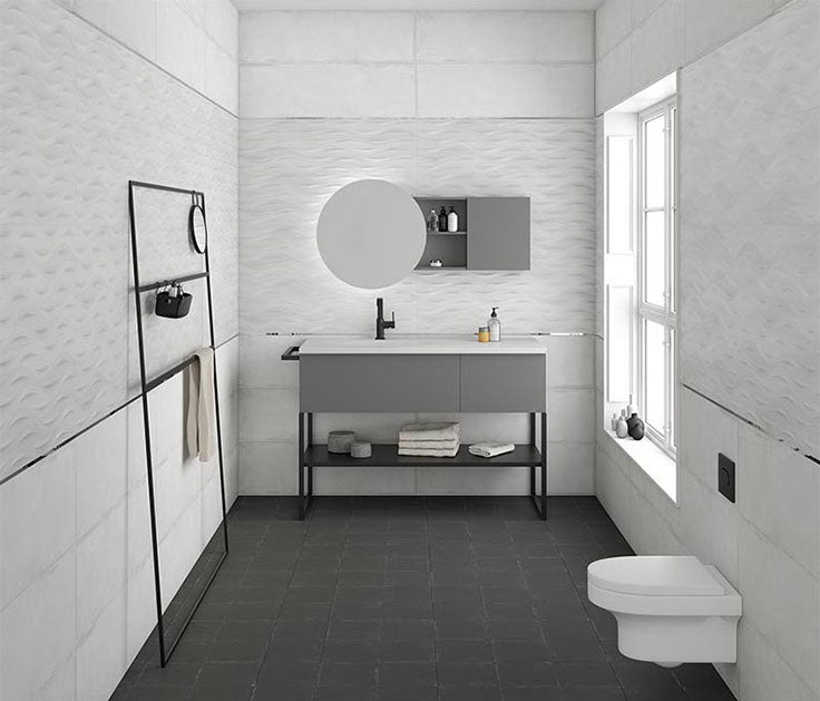 Porcelain 3D tiles for a modern bathroom with minimalist white Scandinavian interior style
