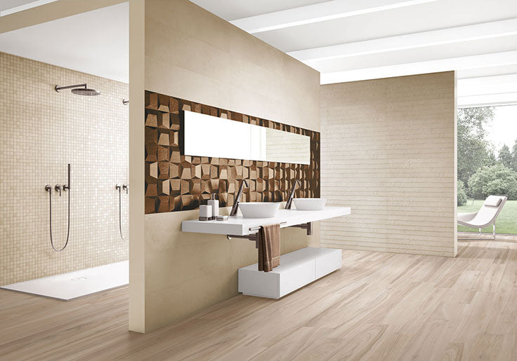 Modern Minimalist Bathroom with a 3D Copper Accent Wall