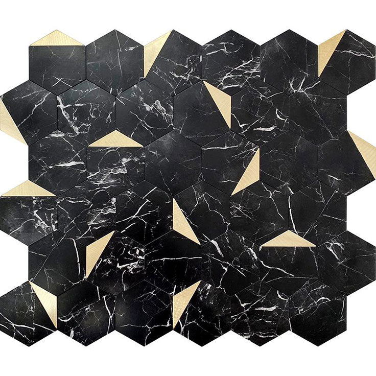 Black Marble and Gold Look Hex Vinyl Peel and Stick Tile
