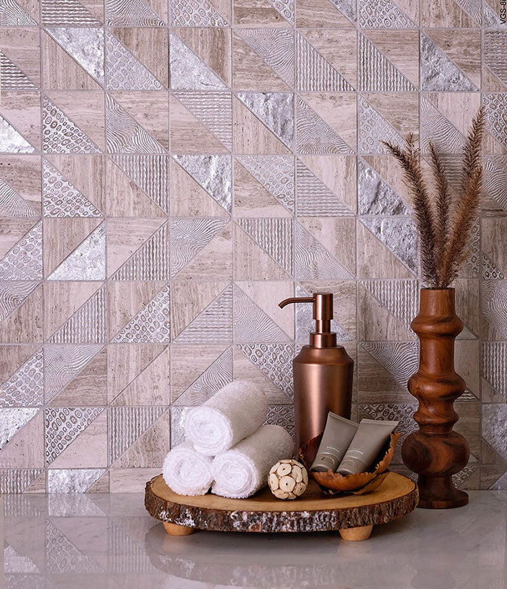 Top Bathroom Design Trends for 2021 - Neutral Tile with Copper Accents