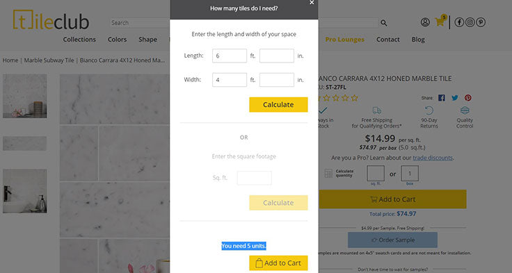 How to Use the Tile Club Square Footage Calculator