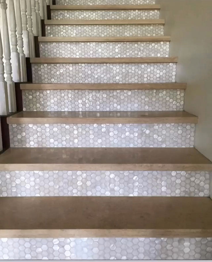 Mother of Pearl Tile Stair Risers for a Coastal Glam Farmhouse