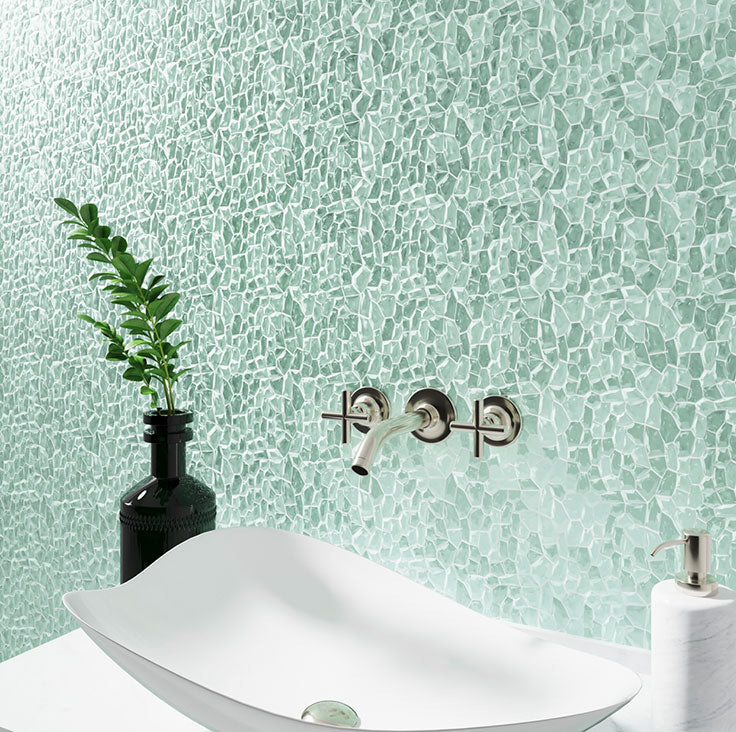 Diamond Aqua Glass Pebble Mosaic Tile is a great bathroom wall tile that's easy to clean and offers a colorful design!