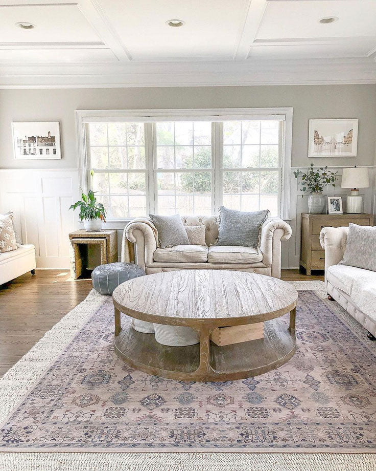 Girl on the Hudson picked up the subtle neutral tones in her living room with this beautiful patterned rug from Loloi