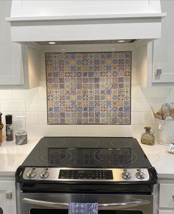Add a Colorful Kitchen Flair with Mexican Tiles Behind the Stove