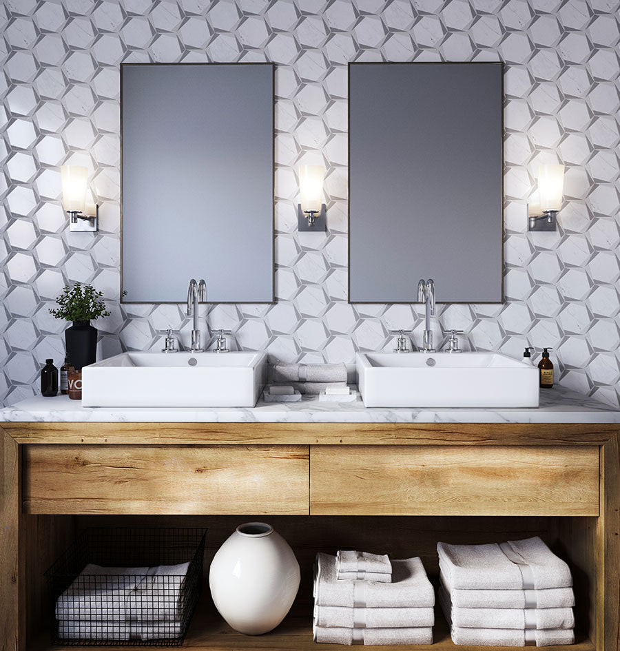 Modern Bathroom with Hexagon and Triangular Geo Backsplash Tile and a Natural Wood Vanity