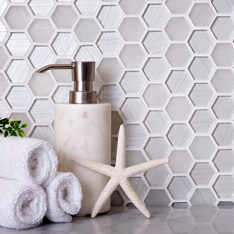 Fabrique White Hexagon Glass Mosaic Tile is a great Coastal Farmhouse Bathroom Detail