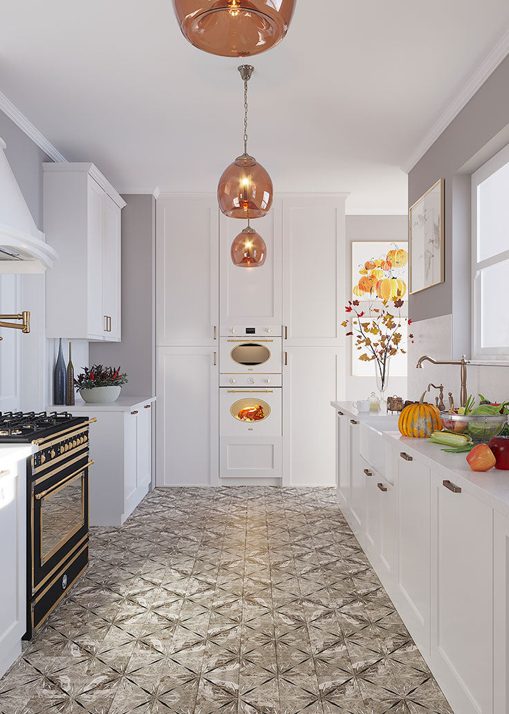 2021 Kitchen Trends for Floors and Walls: Marble Encaustic Style Tiles in Glamorous Gray