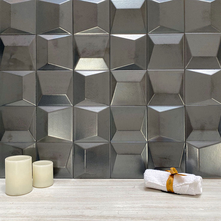 Dimensional Wall Tiles with a Steel Metallic FInish