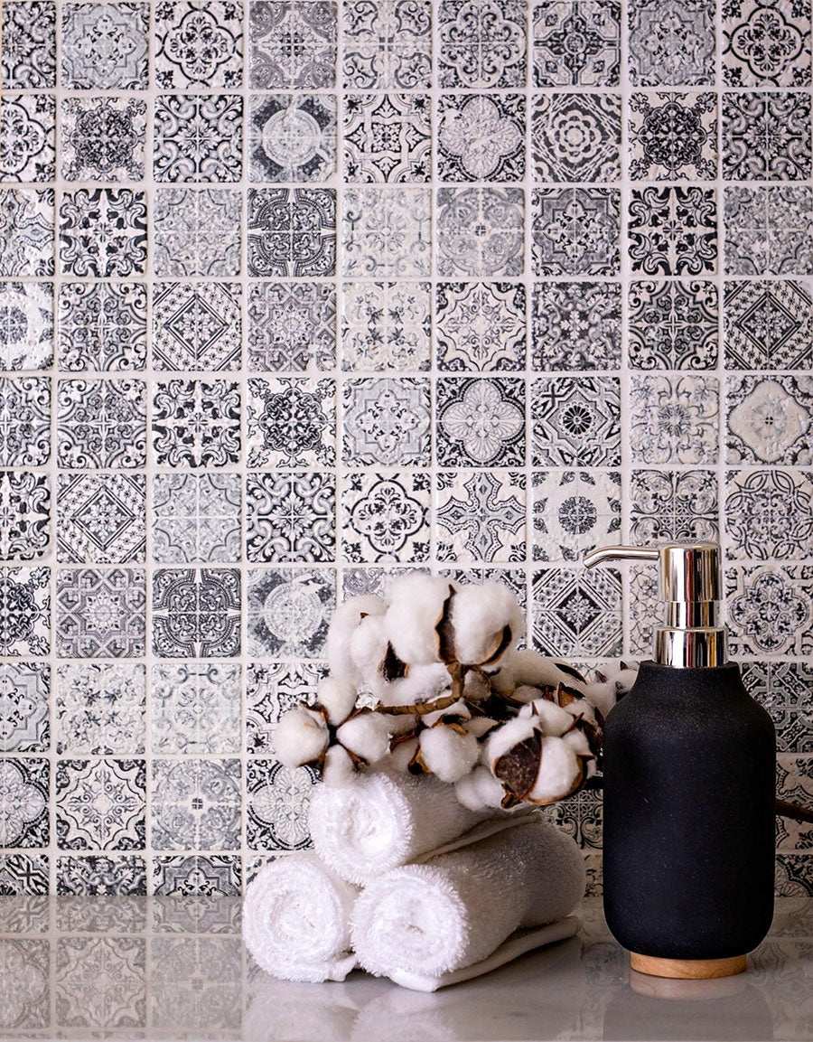 A patterned mosaic tile like our Spanish Grey Siesta is a beautiful way to pair black and white in your tiles while adding a little fun!