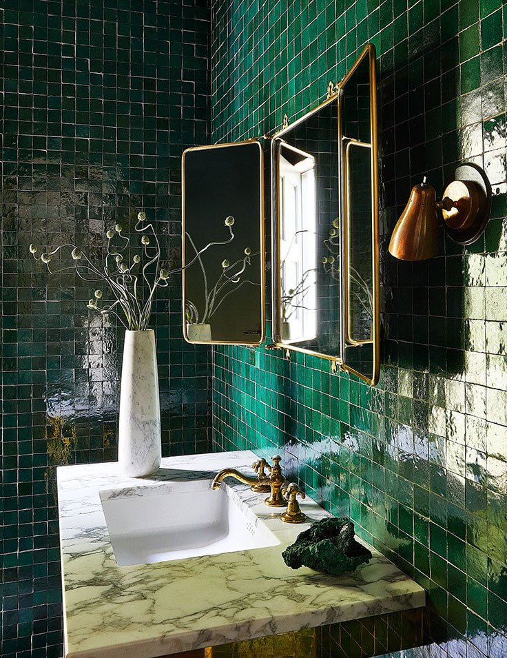 Kendall Jenner's Home Tour Included this Glamorous Green Ceramic Bathroom - Get the Look