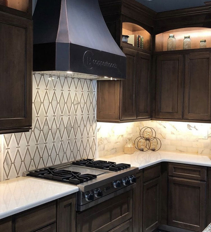 Dark Kitchen Design with a Traditional Marble Mosaic Pattern on the Backsplash