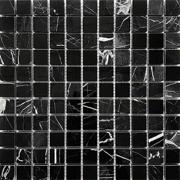 Bold Natural Marble Variation in Black and White Nero Marquina Tiles