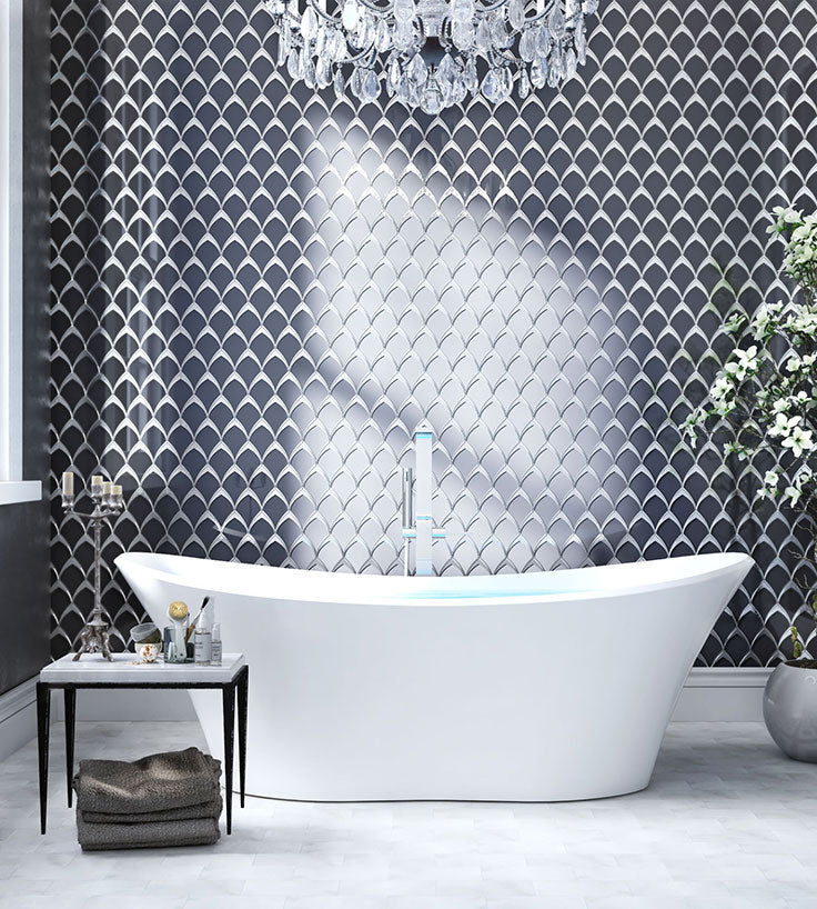 Old Hollywood Luxe Jewelry Box Bathroom with Gray and Silver Tiles in an Art Deco Pattern